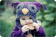 """Owl hat. I am loving this cute little pattern! I""""m sure this is crochet but it was to freaking cute not to pin!"""
