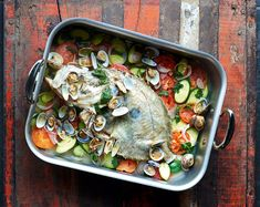 Whole John Dory with Clams and Courgettes John Dory, Pumpkin Gnocchi, Onion Gravy, Sweet N Sour Chicken, Chicken Satay, James Martin, Salted Caramel Chocolate, Fish Recipes, Uk Recipes