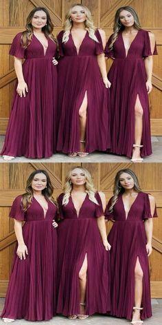 41d5e260a7f Fabulous Unique Design Chiffon Side Slit Burgundy Long Bridesmaid Dresses  Online