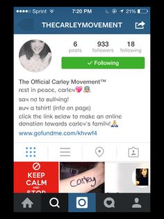 Please follow everyone...She is gone too soon...she lost her battle to the demons of bullying and suicide...i know you don't know her but it would mean a lot if you could write Carley on your wrist and post it to Instagram in support for suicide awareness and tag @thecarleymovement on the picture...it would mean so much to all of us who were so close to her...please???