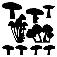 9 Forest Mushrooms Vinyl Wall Decal Set by WilsonGraphics on Etsy