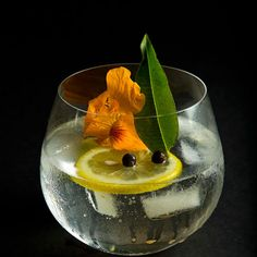 The Ultimate Gin & Tonic Recipe Beverages with gin, wheels, wheels, juniper berries, lemon verbena, edible flowers, tonic water