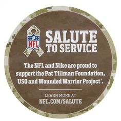 The #NFL and #Nike are proud to support the Pat Tillman Foundation, USO and Wounded Warrior Project. Learn more at NFL.COM/SALUTE. #SalutetoService