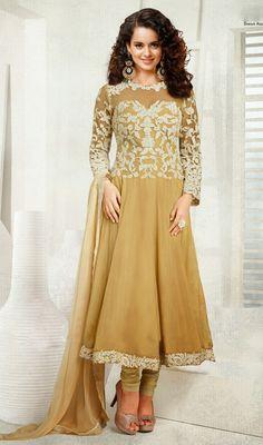 Bollywood Star Kangana Ranaut Beige Georgette Anarkali Dress Price: Usa Dollar $165, British UK Pound £97, Euro121, Canada CA$ 179, Indian Rs8910.