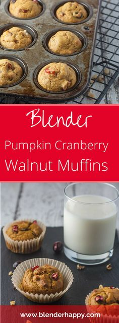 Blender Pumpkin Cranberry Walnut Muffins will make you want to wear cozy sweaters and embrace the Fall Season. Easy to make and easy to clean up.