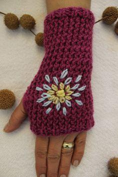 Hand Knitted Fingerless Gloves Female purple by PinarKnitting