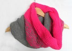 Pink Snood with Grey Mix  http://knittedsnood.com/pink-snood-grey-mix/