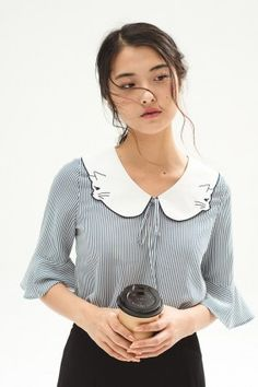 Meowy Joy Top (Blue) - Miss Patina - Vintage Inspired Fashion