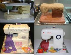 Sewing Machine Cake by Dollar Store Crafter Sewing Machine Cake, Sewing Cake, Cake Decorating Techniques, Cake Decorating Tutorials, Fondant Cakes, Cupcake Cakes, 3d Cakes, Cake Structure, Gravity Cake