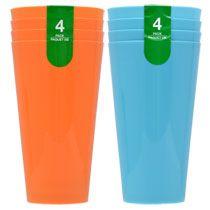 Bright Plastic Blue and Orange Tumblers, 4-ct. Packs