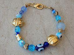 Gold evil eye bracelet. Turkish eye charms jewelry. #jewelry #bracelet @EtsyMktgTool #evileye #evileyebracelet #evileyejewelry