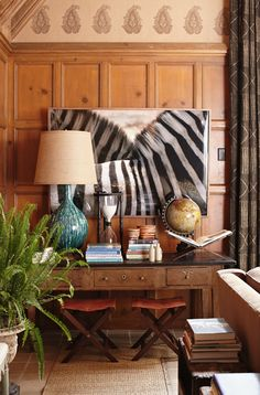 The Style Files: Nathan Turner. Fabulous zebra photo sets off the whole more traditional living room space. Decoration Inspiration, Interior Inspiration, Mantel Styling, Prop Styling, Living Room Decor, Living Spaces, Dining Room, British Colonial Decor, Decoration Originale