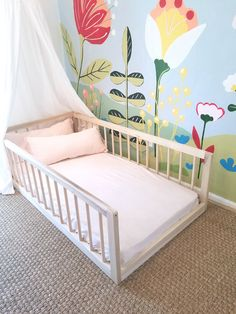 Twin or Full Montessori Floor Bed With Three Round Spindle Railings USA, American Made Hardwood Bed Little girls room Toddler Floor Bed, Diy Toddler Bed, Toddler Rooms, Baby Floor Bed, Floor Beds, Bedding Master Bedroom, Baby Bedroom, Girls Bedroom, Gray Bedding