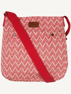 Zigzag Stripe Mini Cross Body Bag (Red)