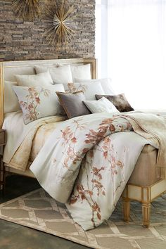 This contains: Michael Aram Designer Bedding Collection #luxurybedding #bedding #designerbedding King Duvet, Queen Duvet, King Sheet Sets, Luxury Bedding Sets, Bedding Collections, Bed Design, Home Furnishings, Interior Design, Furniture