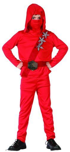 Ninja-Kostüm für Jungen: Dieses Kostüm für Kinder ist nach der Vorlage eines japanischen Spion-Outfits gefertigt. Es enthält ein Oberteil, eine Hose, einen Gürtel und eine Haube (Schuhe sind nicht im Lieferumfang...