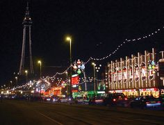 Blackpool Illuminations at night.
