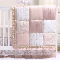 online shopping for Grace 4 Piece Baby Girl Dusty Pink Floral Layered Patchwork Crib Bedding Set from top store. See new offer for Grace 4 Piece Baby Girl Dusty Pink Floral Layered Patchwork Crib Bedding Set Girl Crib Bedding Sets, Girl Cribs, Crib Sets, Cot Bedding, Patchwork Designs, Dusty Pink, Dusty Rose, Nursery Decor, Nursery Curtains