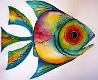 paint watercolors on paper one day, then cut out into shapes, like this fish etc. add black accent details