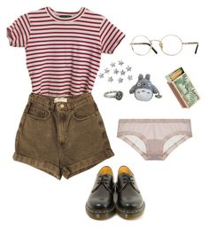 """""""stripez"""" by aliennbby on Polyvore featuring American Apparel, Pyrrha, OnGossamer, Shandell's, Dr. Martens and Oliver Peoples"""
