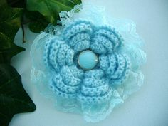 Hand Crochet Sky Blue Corsage Brooch Pin Flower by CraftsbySigita  www.etsy.com/shop/CraftsbySigita