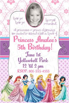 Disney Princess Birthday Invitations Free