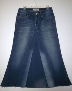 Long Jean Skirt Made To Order by WhimsicalJeanSkirts on Etsy