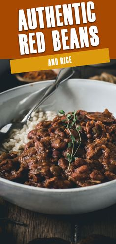 This is truly an Authentic Red Beans and Rice recipe. Full of flavor and rich in taste. Throughout the day your kitchen will emanate scents of this classic New Orleans style dish as it slowly simmers on the stove. #AuthenticRedBeansAndRice #RedBeansAndRice #StovetopRedBeansAndRice Easy Chicken Recipes, Delicious Recipes, Healthy Dinner Recipes, Pasta Recipes, Soup Recipes, Beans Beans, Ham And Beans, Red Beans, Best Side Dishes