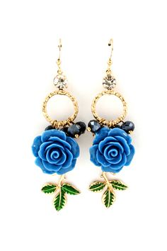 Blue Rose Dangles | Awesome Selection of Chic Fashion Jewelry | Emma Stine Limited