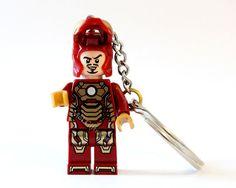 Iron Man Keychain, Mark 42 - made from NEW Superhero Iron Man LEGO (r) Minifig on Etsy, $18.00