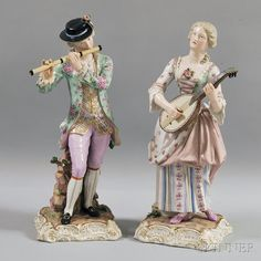 Pair of Large Meissen Porcelain Figures, 19th century, the two figures playing musical instruments, the woman a lute, the man a flute,