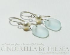 Glass Earrings, Sea Glass Jewelry, Glass Beads, Pearl Earrings, Handmade Sterling Silver, Sterling Silver Earrings, Sea Glass Colors, Water Pearls, Blue Pearl