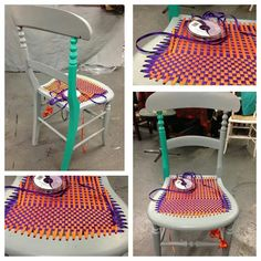 Re woven chair with ribbons