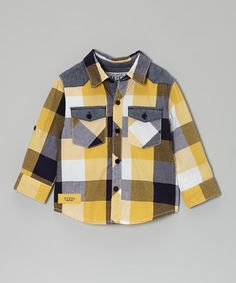 Take a look at this Yellow Checkerboard Button-Up - Infant by GUESS on #zulily today!