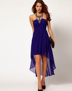 $105.54 Little Mistress Embellished Collar Hi Lo Dress
