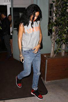 Rihanna wearing Nike Air Jordan 1 Black/Varsity Red Stella McCartney Beckett Soft Faux-Leather Backpack Lovers + Friends Afternoon Hoodie