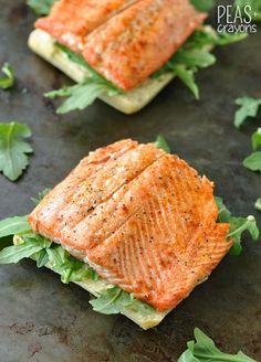 Grilled Salmon Ciabatta Sandwiches with Arugula, Avocado, and Pesto