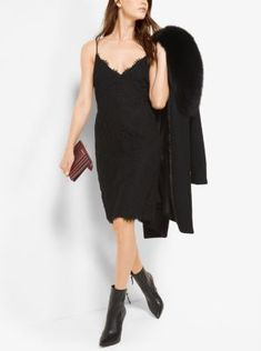 With its delicate scalloped detailing along the neckline and hem, this lace slip dress is at once chic and charming. Wear this day to dark style with pointed-toe ankle boots, adding a blazer for the office.