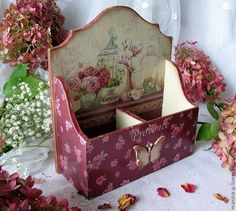 """The kitchen is handmade. Buy Stand for spices """"Pink Rose"""". Decoupage Art, Decoupage Vintage, Decoupage Letters, Decoupage Ideas, Wood Crafts, Paper Crafts, Diy Crafts, Wallpaper Nature Flowers, Tea Box"""
