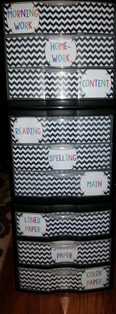 Use turn in bins to help keep student work organized.  Includes free editable labels.
