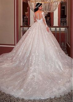 The Perfect Wedding Dress For The Bride Glamorous Tulle & Lace Scoop Neckline Ball Gown Wedding Dress With Lace Appliques & Beadings Perfect Wedding Dress, Dream Wedding Dresses, Bridal Dresses, Wedding Gowns, Bridesmaid Gowns, Wedding Dress Organza, Lace Dress, Tulle Lace, Tulle Wedding