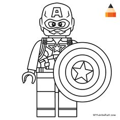 Coloring page for Kids - How To Draw Lego Captain America Captain America Coloring Pages, Avengers Coloring Pages, Lego Coloring Pages, Superhero Coloring, Marvel Coloring, Coloring Pages For Kids, Avengers Drawings, Avengers Cartoon, Lego Marvel's Avengers