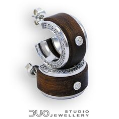 SILVER & WOOD - Jewellery DUO earrings - Unique combination of rhodium plated sterling silver and exotic wood.. $95.00, via Etsy.