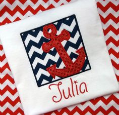 Nautical Patriotic Red Sequin Anchor in Navy Chevron Box, Monogram Applique Onesie or T Shirt, Embroidered Summer, Beach, 4th of July