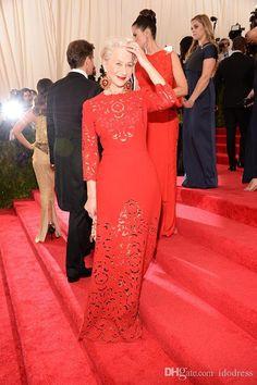 acc8fede500 2015 Met Gala Helen Mirren Elegant Prom Dresses Met Ball Soft Lace Red  Evening Gowns Long