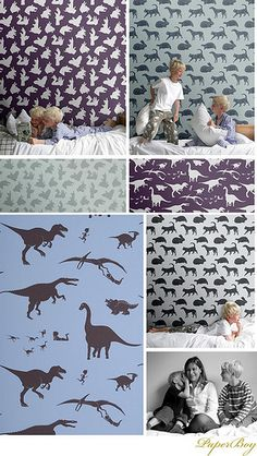 Love the hand shadow purple wallpaper. Great for boys bedroom! PaperBoy by decor8