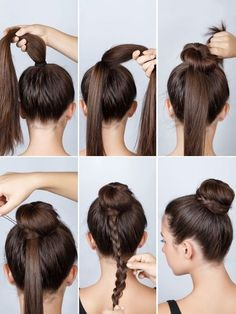 Dutt mit Flechtzopf If a normal bun is too boring: Tie a high ponytail and then wrap a bun using a d Cute Hairstyles, Braided Hairstyles, Elegant Hairstyles, Hairstyle Ideas, Wedding Hairstyles, Ballet Hairstyles, Layered Hairstyle, Medium Hairstyles, Easy Hairstyles Tutorials
