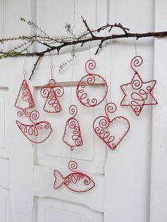 Meryema / červené vianoce drôtom maľované... sada