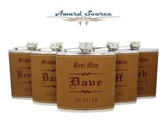 8 Personalized Groomsmen Gift 8 Leather Flasks by AwardSourceLLC Groomsmen Flask, Groomsman Gifts, Wedding Attendant Gifts, Leather Engraving, White Gift Boxes, Father Of The Bride, Personalized Gifts, Wedding Gifts, Birthday Gifts