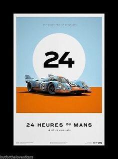 PORSCHE 917K 1970 1971 Le Mans Fine Art Print Poster Ltd Ed Set 4 MARTINI GULF 2